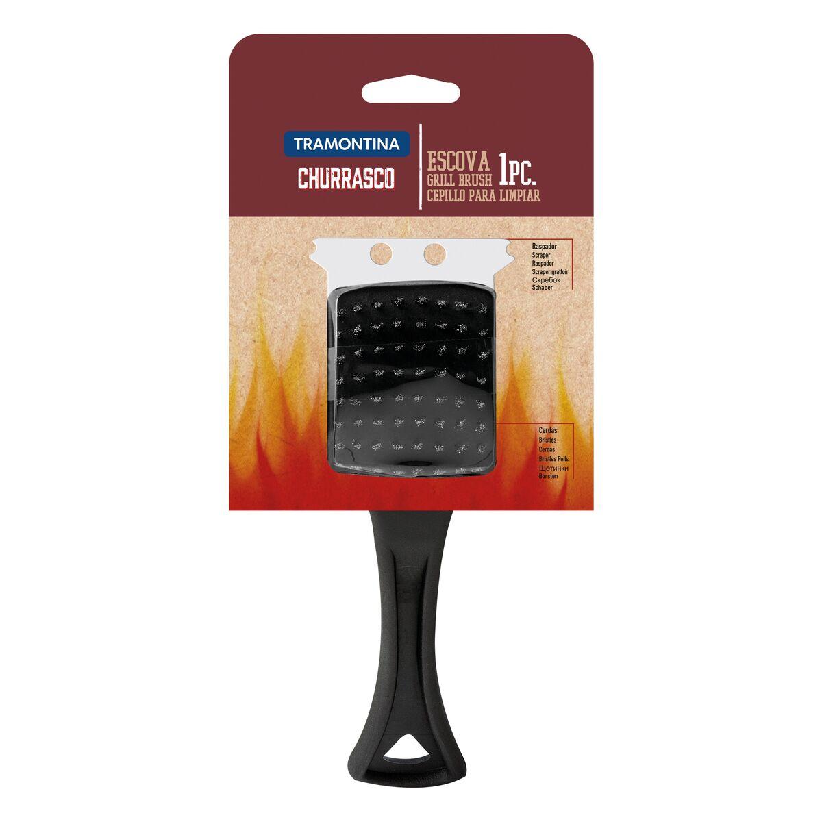 Escova Raspador Tramontina Churrasco com Cerdas para Limpar Grill 21,6cm