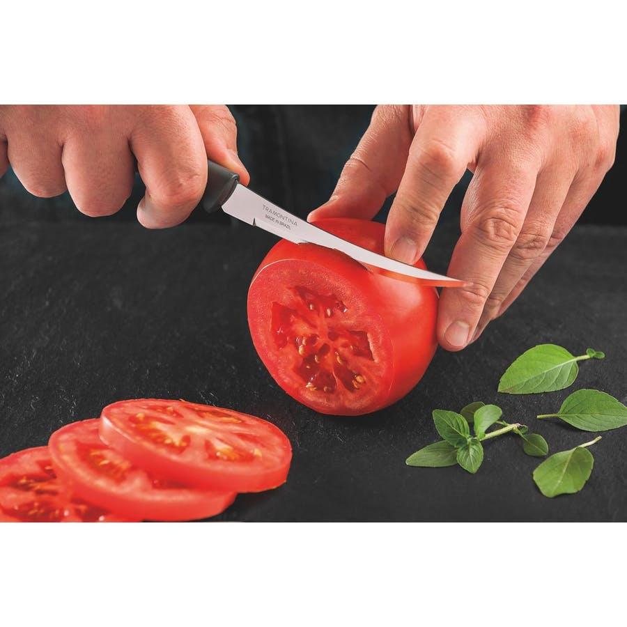 """Faca para Tomate Tramontina Plenus com Lâmina em Aço Inox e Cabo de Polipropileno Preto 5"""""""