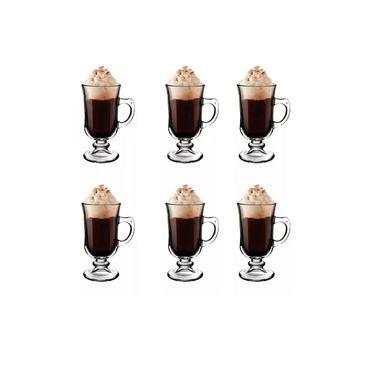 Jogo de 6 Canecas Irish Coffee para Cappuccino e Chocolate Quente 250ml