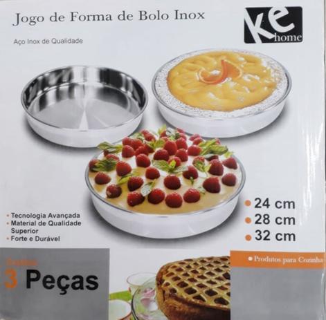 Jogo de 3 Formas de Inox de Bolo e Torta 24cm 28cm e 32cm