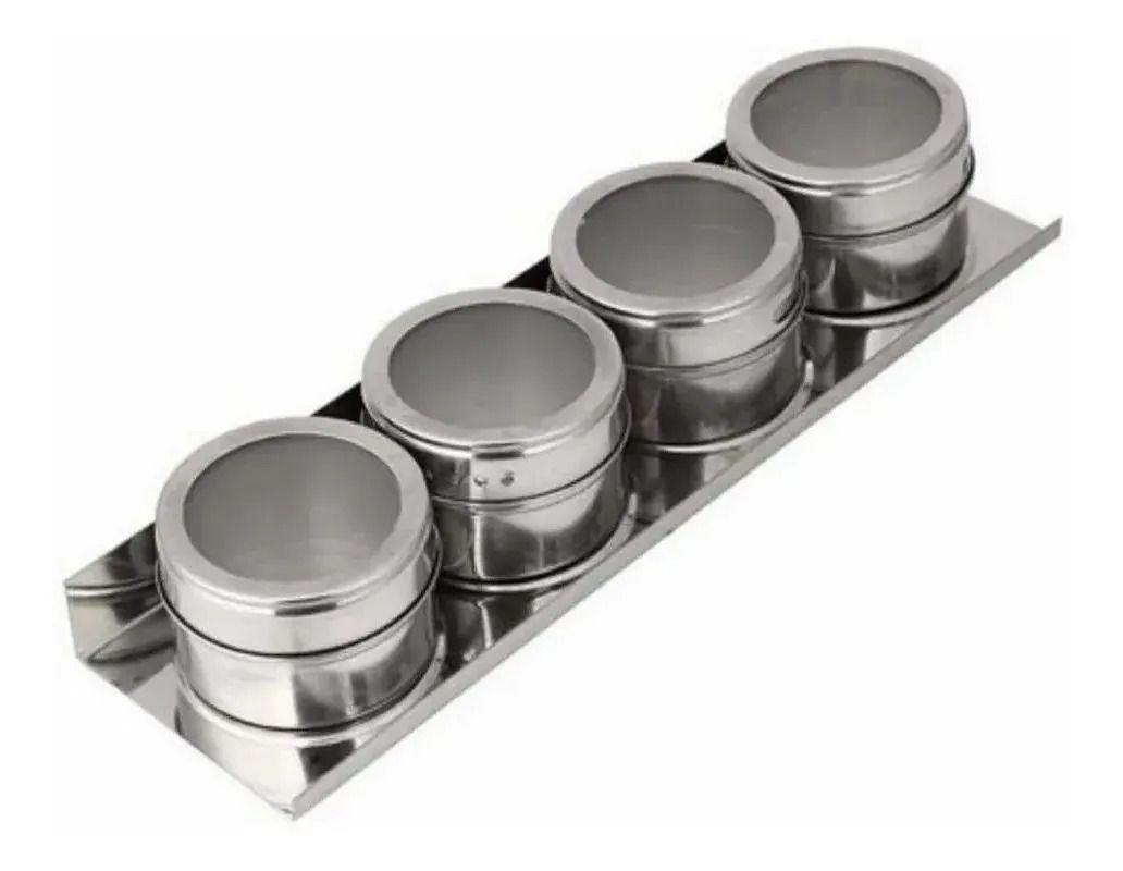 Jogo Porta Condimentos Magnético Aço Inox