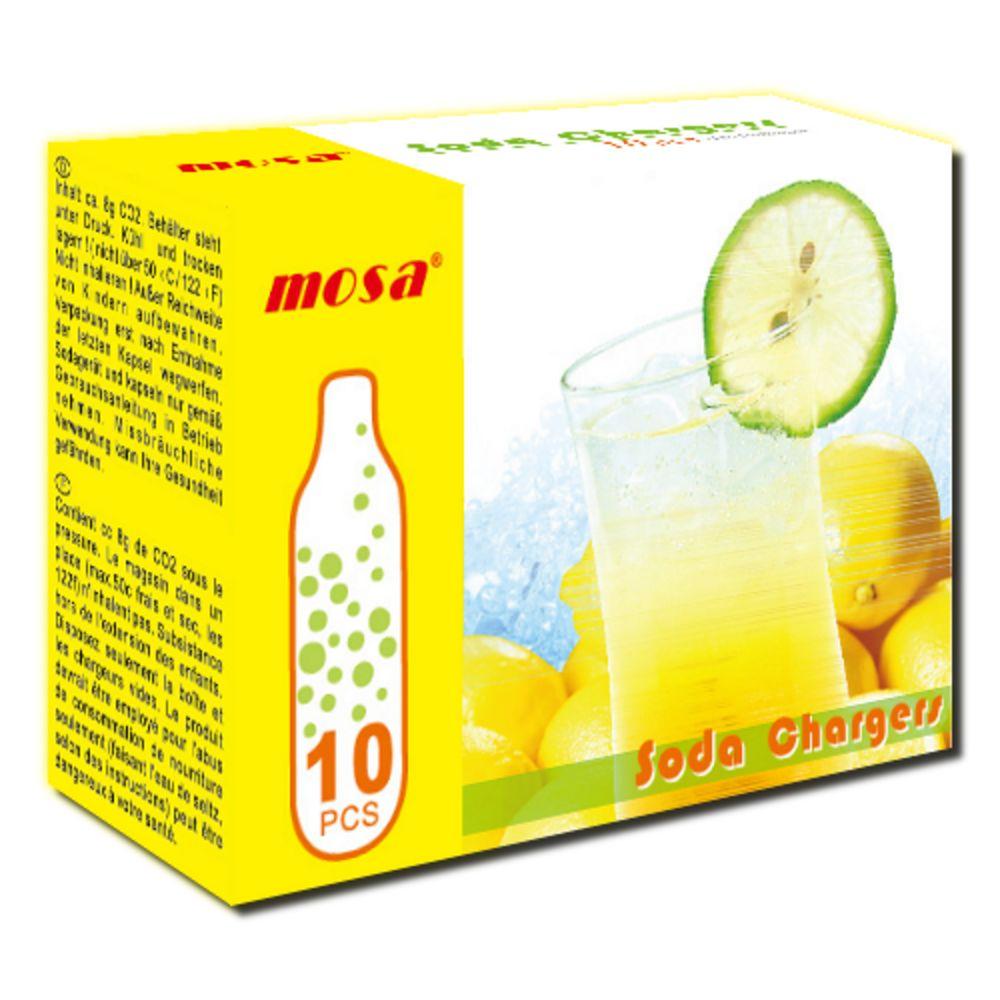 Kit Com 10 Cápsulas de Gás CO2 Soda Chargers Mosa