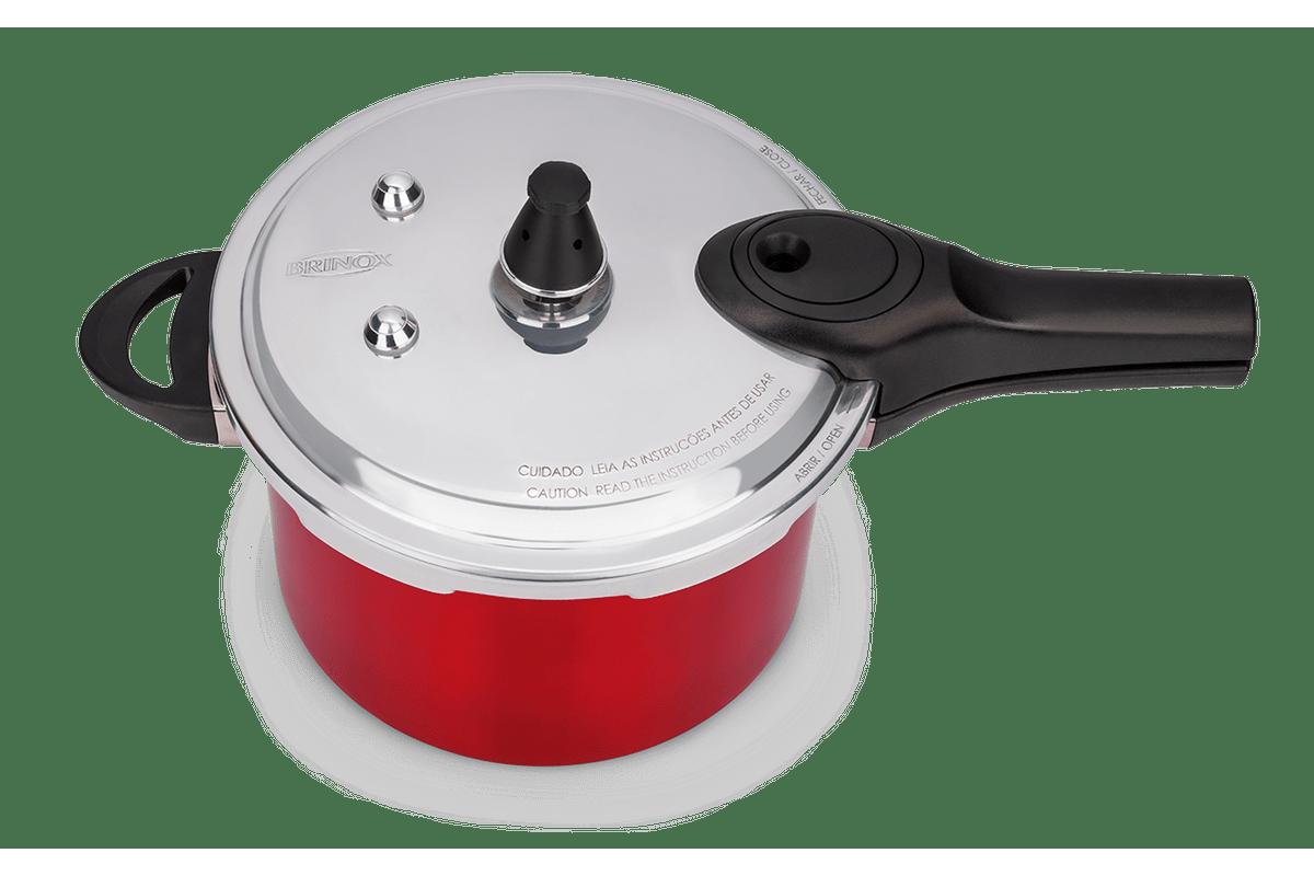 Panela de Pressão Pressure Vermelha 4,2 litros Ø20 x 14,5cm - Brinox