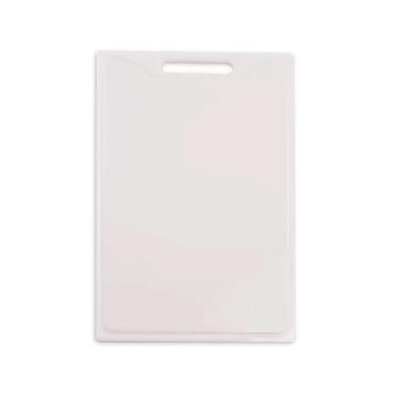 Tábua / Placa de Corte em Polietileno com Canaleta e Pega Branca 25cm X 40cm