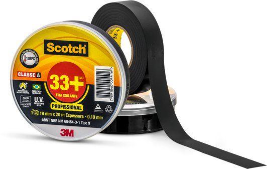 Fita Isolante 19mm x 20mts 33+ Scotch 3M Preta