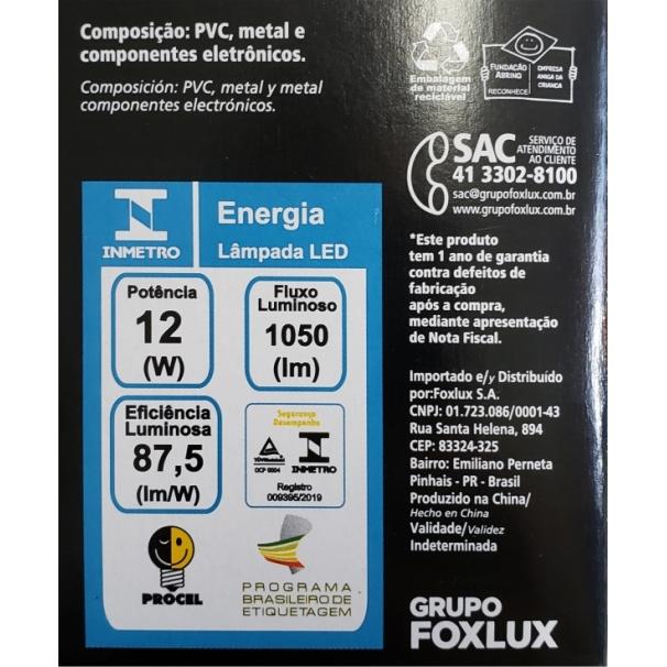 Lâmpada super LED A60 12W E-27 BIVOLT FOXLUX | Inmetro