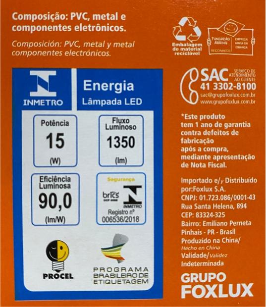 Lâmpada super LED A60 15W E-27 BIVOLT FOXLUX | Inmetro