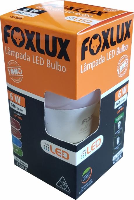 Lâmpada super LED A60 6W E-27 BIVOLT FOXLUX   Inmetro