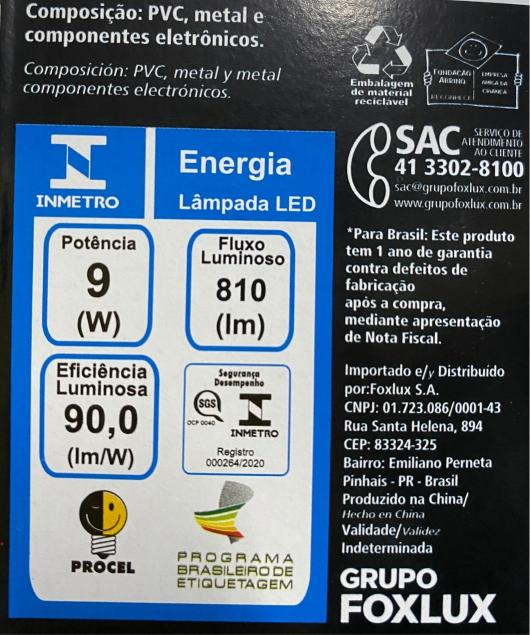 Lâmpada super LED A60 9W E-27 BIVOLT FOXLUX | Inmetro