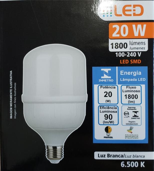 Lâmpada super LED Alta Potência 20W 6500K BIVOLT FOXLUX  | Inmetro