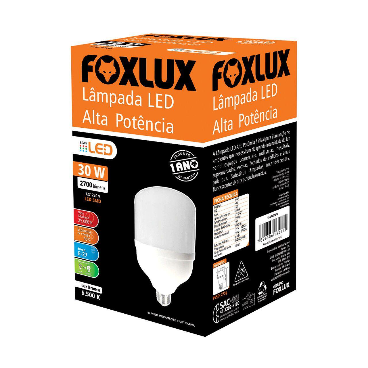 Lâmpada super LED Alta Potência 30W 6500K BIVOLT FOXLUX