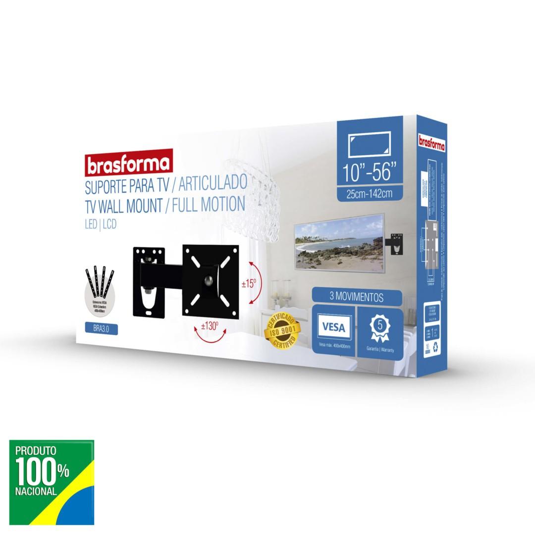 Suporte TV LCD 10 a 56 Braço Articulado - Brasforma - BRA3.0