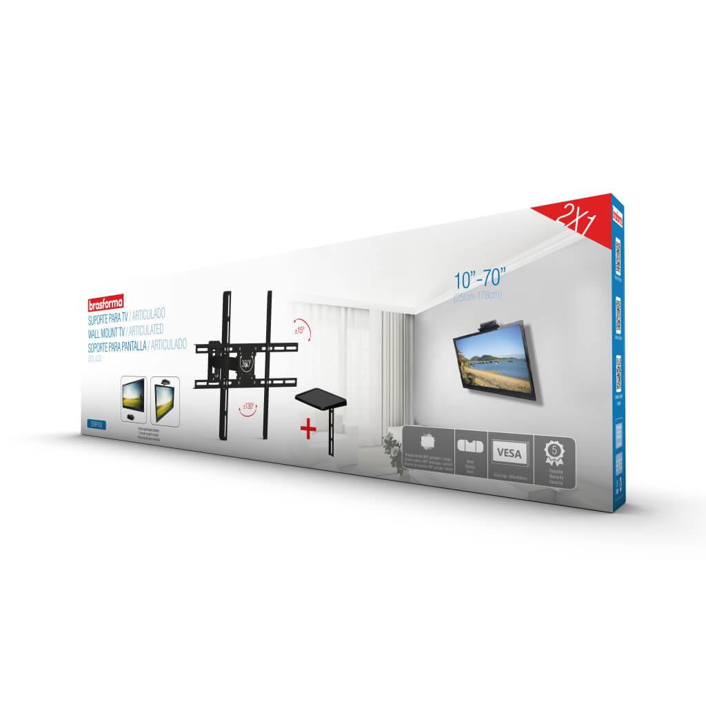 Suporte TV LCD 10 a 70 Braço Articulado - Brasforma - SBRP430