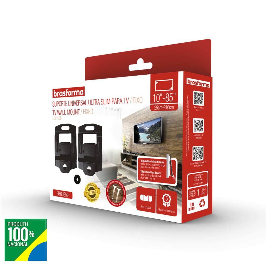 Suporte TV Universal Ultra Slim para TV Fixo 10 a 85 - Brasforma - SBRU859