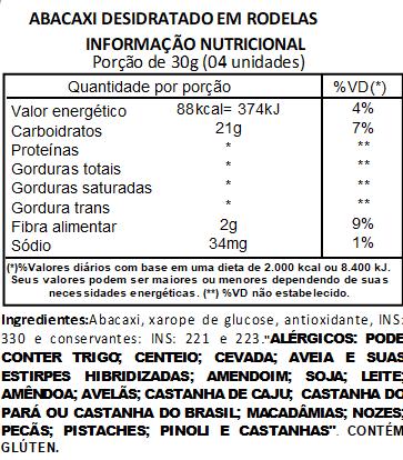 Abacaxi em Rodelas Desidratado - 1Kg