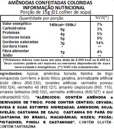 Amêndoas Confeitadas Coloridas - 500g