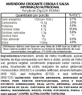 Amendoim Crocante Sabor Cebola e Salsa - 200 g