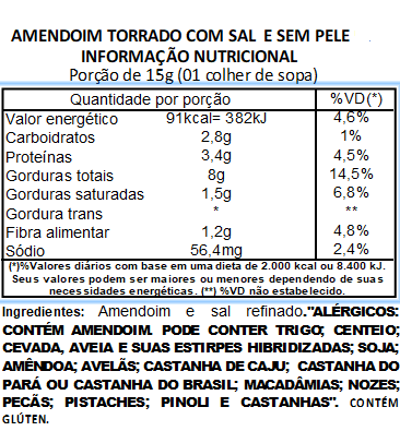 Amendoim Torrado Com Sal Sem Pele Viva Salute a Vácuo - 500g
