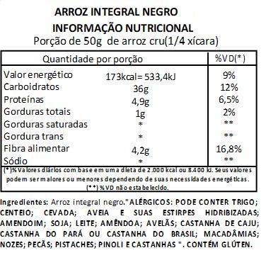 Arroz Negro Integral Viva Salute a Vácuo - 500g