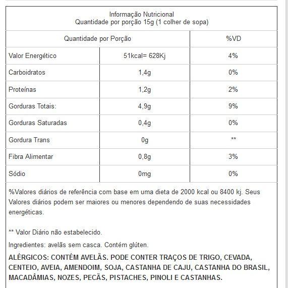 Avelã Sem Casca Natural Viva Salute Embalada a Vácuo - 200g