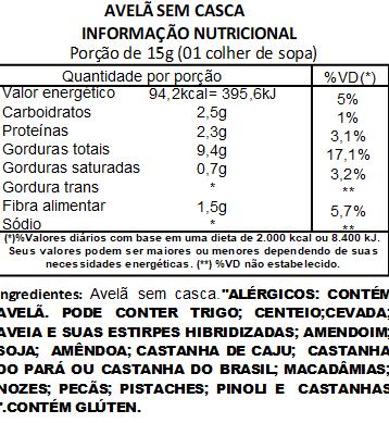 Avelã Sem Casca Natural Viva Salute Embalada a Vácuo - 500g
