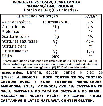 Banana Chips com Canela e Açúcar Viva Salute - 100 g