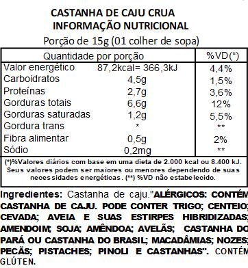 Castanha de Caju Crua (Natural) Inteira Viva Salute a Vácuo - 200g
