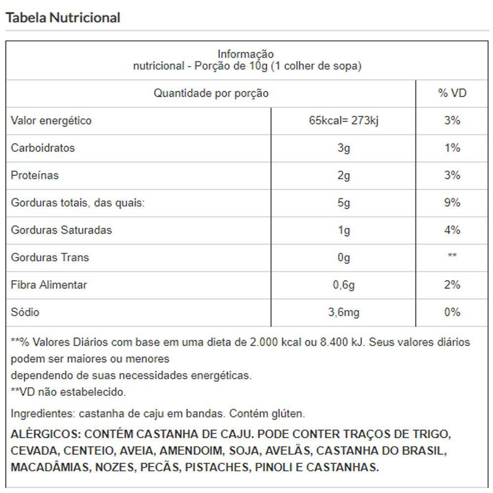 Castanha de Caju em Bandas e Sem Sal Embalado a Vácuo - 500g
