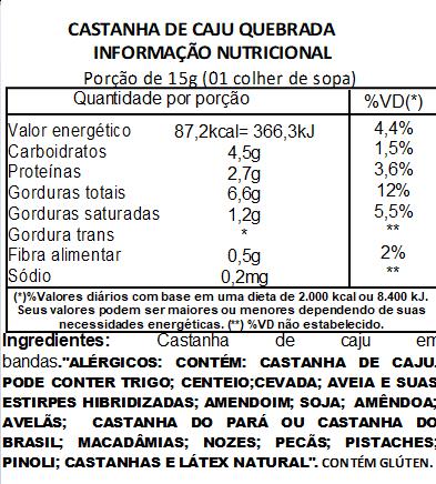 Castanha de Caju Quebrada Premium Viva Salute a Vácuo 1Kg