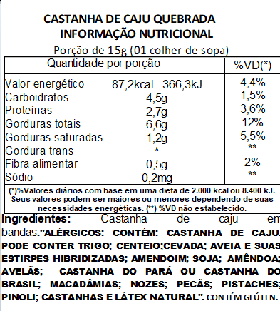 Castanha de Caju Quebrada Premium Viva Salute a Vácuo 500g