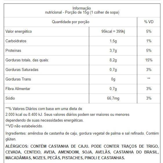 Castanha de Caju Torrada Inteira e Com Sal W1 a Vácuo - 200g