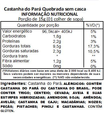 Castanha do Pará Quebrada Sem Casca Embalada a Vácuo - 200g