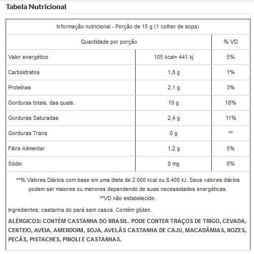 Castanha do Pará Sem Casca Inteira Embalada a Vácuo - 1Kg