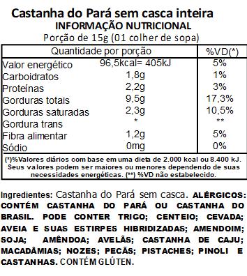 Castanha do Pará Sem Casca Inteira Embalada a Vácuo - 500g