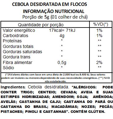 Cebola Desidratada em Flocos Embalada a Vácuo - 500g