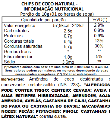 Chips de Coco Sem Açúcar Viva Salute a Vácuo - 200g