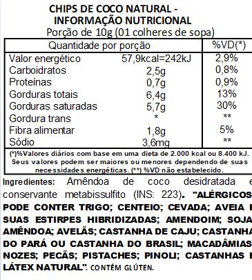 Chips de Coco Sem Açúcar Viva Salute a Vácuo - 500g