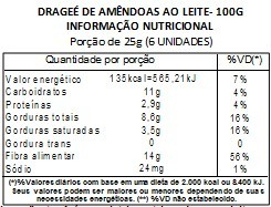 Chocolate Dragee de Amendoas - ao leite - 100g