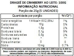 Chocolate Dragee de Cranberry - ao leite - 100g
