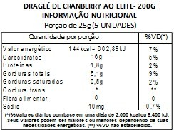 Chocolate Dragee de Cranberry - ao leite - 200g