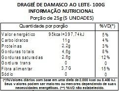 Chocolate Dragee de Damasco - ao leite - 100g