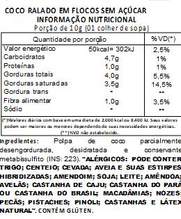 Coco Ralado em Flocos Sem Açúcar 500g
