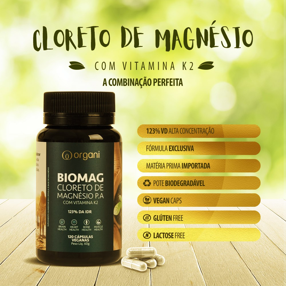 Kit Biomag Cloreto de Magnésio com K2 Organi - 5 Unids