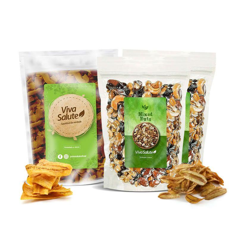 Kit Saudável para o Dia a Dia: 4 itens - Chips salgados, Chips Doces e Mix de Castanhas