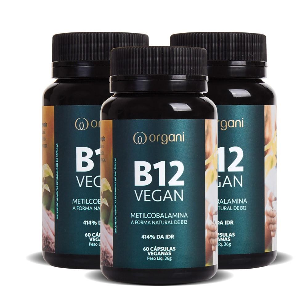 Kit Vitamina B12 Metilcobalamina 414% Alta Concentração - Organi - 3 Unids