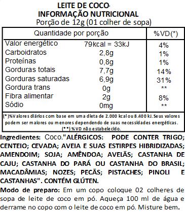 Leite de Coco em Pó Premium Viva Salute - 100 g