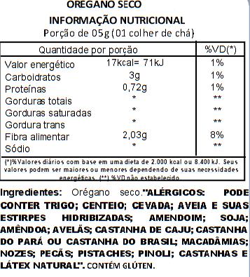 Orégano Seco em Flocos a Vácuo - 500g