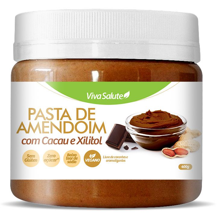 Pasta de Amendoim com Cacau e Xilitol Viva Salute - 400g
