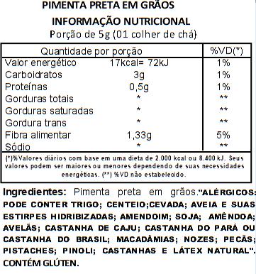 Pimenta Preta em Grãos Viva Salute - 100g