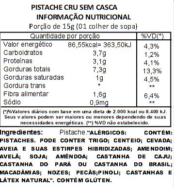 Pistache Sem Casca e Cru - 1kg